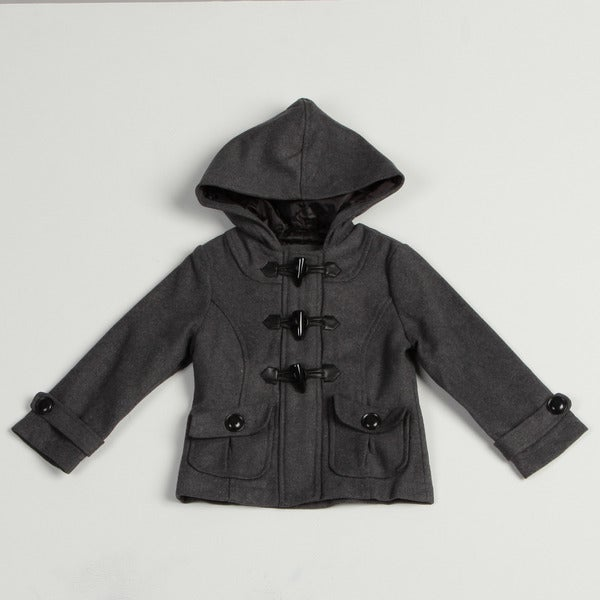 Velvet Chic Girl's Charcoal Hooded Wool Blend Jacket FINAL SALE