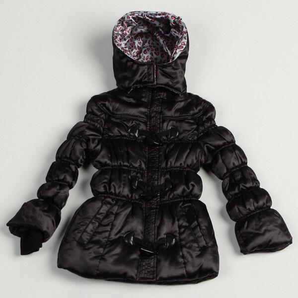 Velvet Chic Girl's Black Puffer Jacket