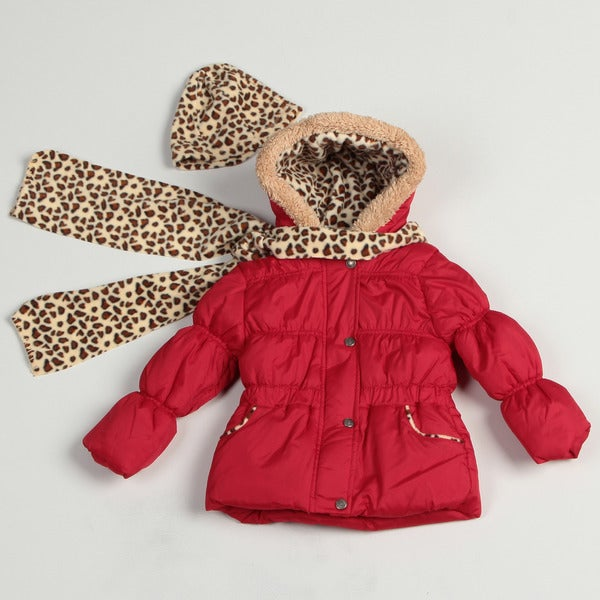 Pink Platinum Girl's Red Leopard Puffer Jacket Set