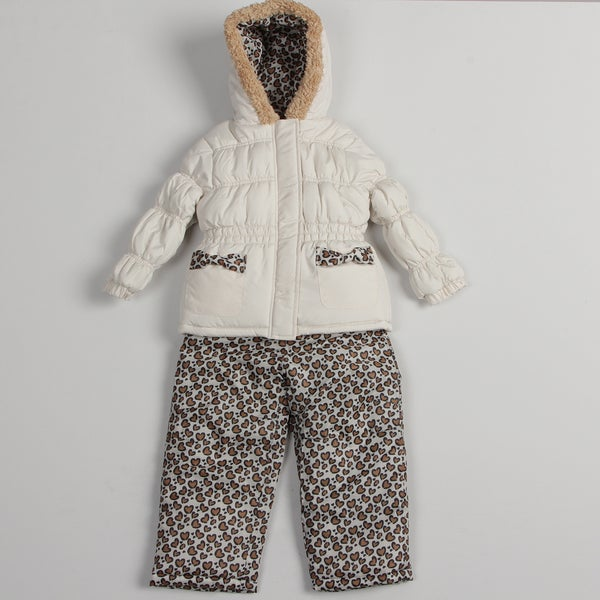 Pink Platinum Girls' Leopard Snowsuit