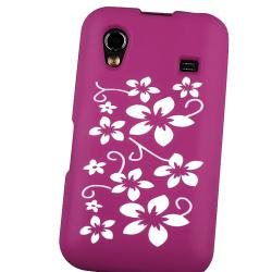 Hot Pink Flower Silicone Case/ Screen Protector for Samsung Galaxy Ace - Thumbnail 1