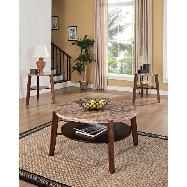 Shop Dark Oak Faux Marble Coffee/ End Tables 3-piece Set