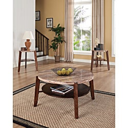 Dark Oak Faux Marble Coffee/ End Tables 3-piece Set
