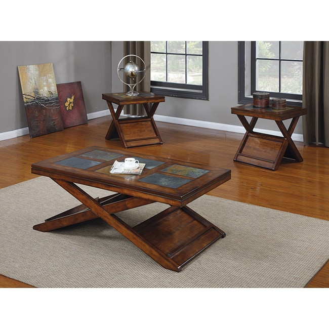 Dark Oak Finish 3 Piece Coffee Table Set