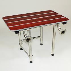 CSI Bathware 22-inch Rectangular Phenolic Wood Shower Seat, Swing Down Legs - Thumbnail 1