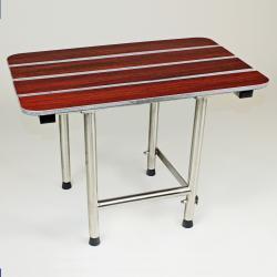 CSI Bathware 22-inch Rectangular Phenolic Wood Shower Seat, Swing Down Legs