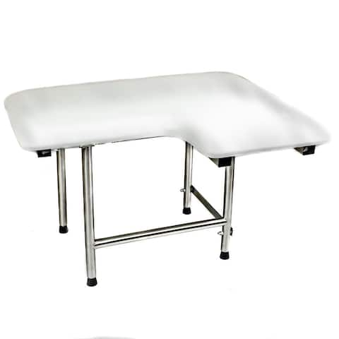 CSI Bathware Padded 28 in. W x 21 in. D Left Hand Folding Shower Seat with Swing Down Legs