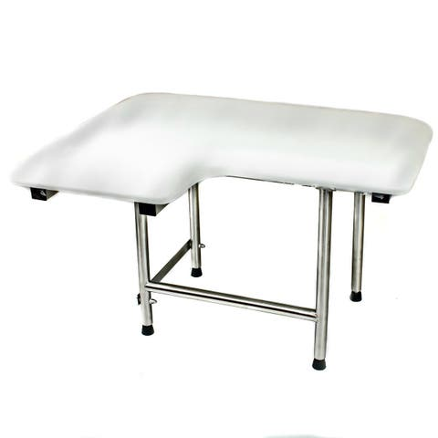 CSI Bathware Padded 32 in. W x 21 in. D Right Hand Folding Shower Seat with Swing Down Legs