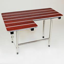 CSI Bathware 32-inch Right Hand Phenolic Wood Shower Seat, Swing Down Legs
