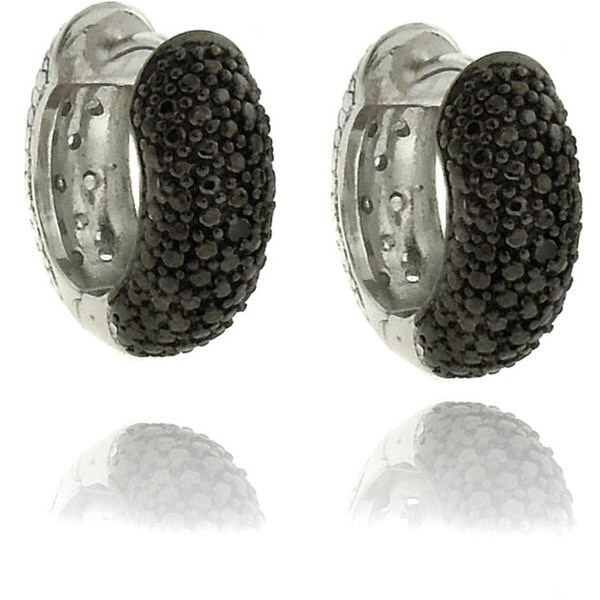 Finesque Sterling Silver 1/4ct TDW Black and White Diamond Hoop Earrings
