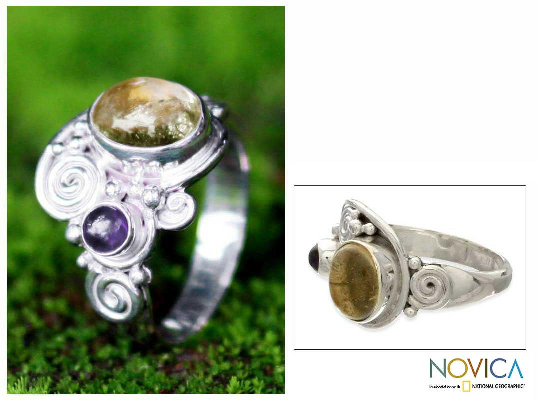 Handmade Sterling Silver 'Sunshine' Citrine and Amethyst Ring (Indonesia)