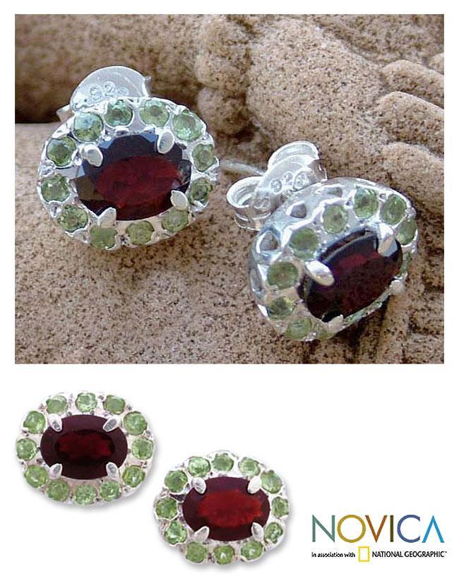 Handmade Sterling Silver 'Sisters' Garnet Peridot Earrings (India)