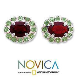 Handmade Sterling Silver 'Sisters' Garnet Peridot Earrings (India) - Thumbnail 1