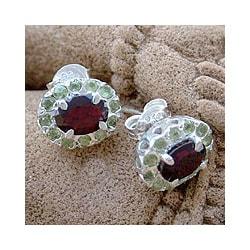 Sterling Silver 'Sisters' Garnet Peridot Earrings (India)