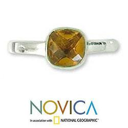 Sterling Silver 'Sunny Muse' Citrine Solitaire Ring (India)