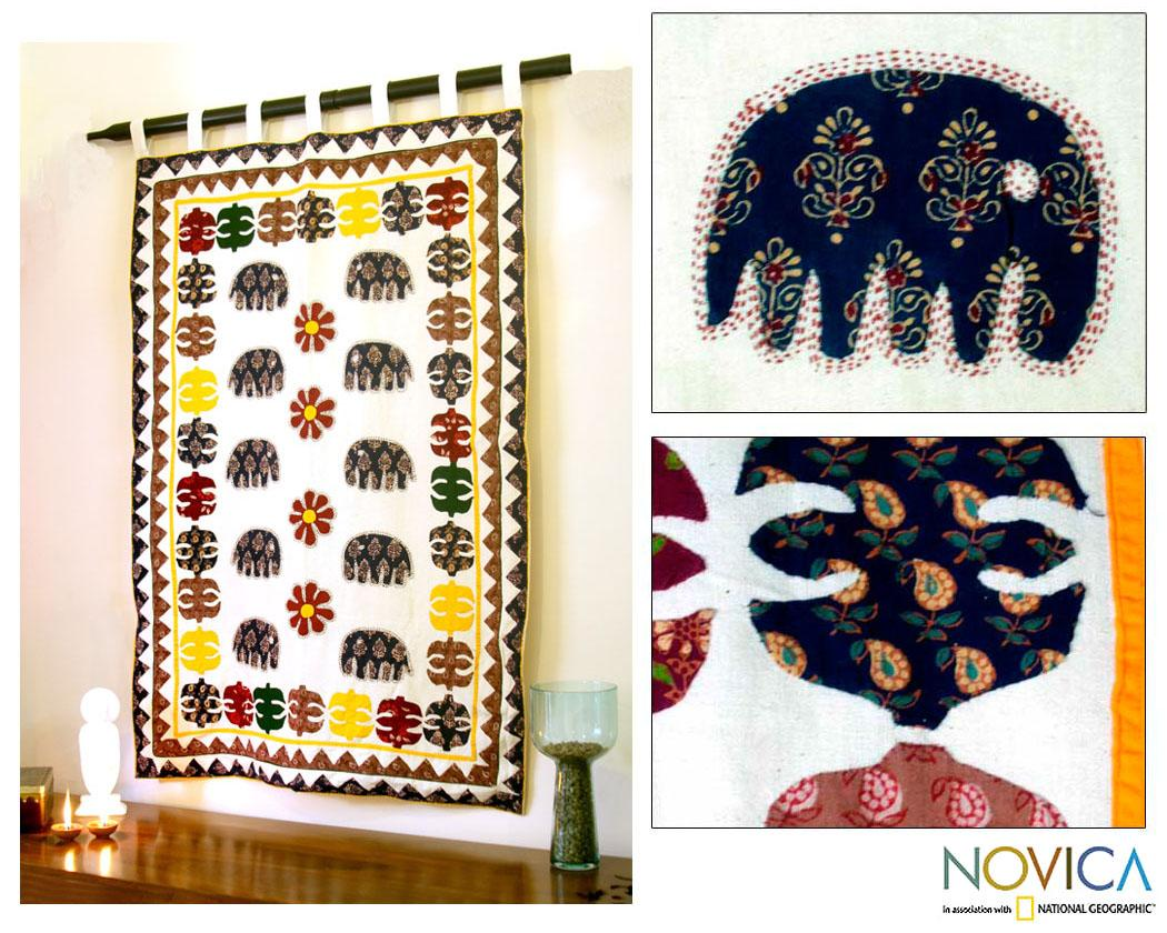 Handcrafted Cotton 'Elephant Fantasy' Patchwork Wall Hanging (India)