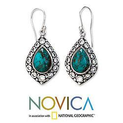 Sterling Silver 'Balinese Lake' Turquoise Earrings (Indonesia) - Thumbnail 1