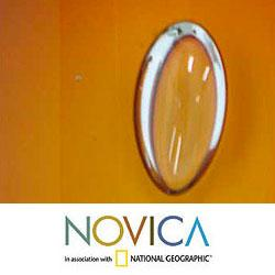 Handmade Handblown Glass 'Amber Bubbles' Murano Paperweight (Brazil) - Thumbnail 1