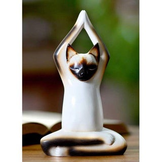 Handcrafted Wood 'Toward the Sky Yoga Cat' Sculpture (Indonesia)