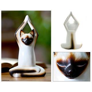Handmade Wood 'Toward the Sky Yoga Cat' Sculpture (Indonesia)