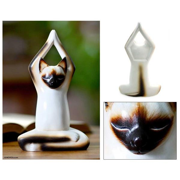 Handmade Wood 'Toward the Sky Yoga Cat' Sculpture (Indonesia)