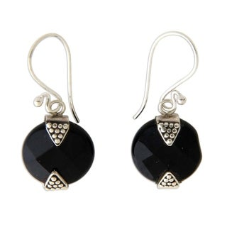 Handmade Sterling Silver Sylph Onyx Earrings (Indonesia)