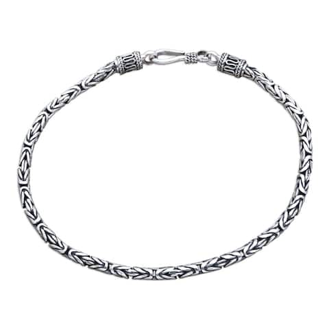 Handmade Borobudur Collection Buddhist Zen Inspired Naga Snake Mens or Womens Sterling Silver Chain Bracelet (Indondesia)