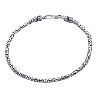 Borobudur Collection Buddhist Zen Inspired Handmade 925 Sterling Silver Naga Snake Mens or Womens Chain Bracelet (Indondesia)