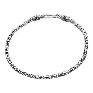 Borobudur Collection Buddhist Zen Inspired Handmade 925 Sterling Silver Naga Snake Mens or Womens Chain Bracelet (Indondesia)