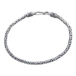 Handmade Borobudur Collection Buddhist Zen Inspired Naga Snake Mens Or Womens Sterling Silver Chain Bracelet