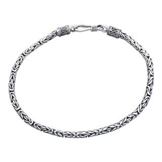 Handmade Borobudur Collection Buddhist Zen Inspired Naga Snake Mens or Womens Sterling Silver Chain Bracelet (Indondesia)