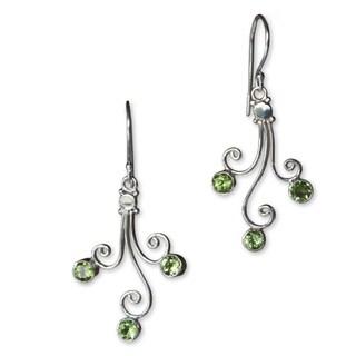 Handmade Sterling Silver 'Lime Blossom Trio' Peridot Earrings (Indonesia)