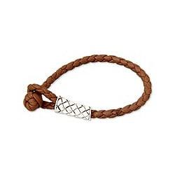 Handmade Sterling Silver 'Jimbaran Lady' Leather Bracelet (Indonesia)