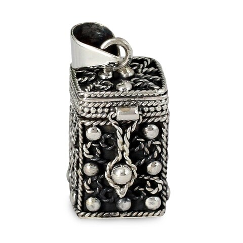 Handmade Sterling Silver 'Prayer Box' Locket Pendant (India)