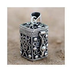 Sterling Silver 'Prayer Box' Locket Pendant (India)
