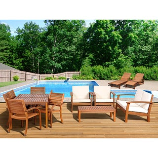 Charming Atlantic Amazonia 13 Piece Eucalyptus Wood Outdoor Collection