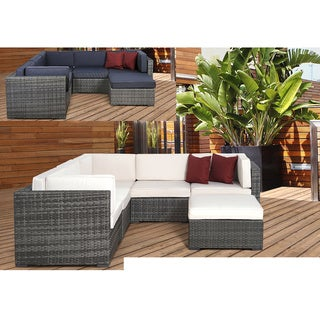 Atlantic Modena Grey/Off-white 6-piece Wicker Sectional