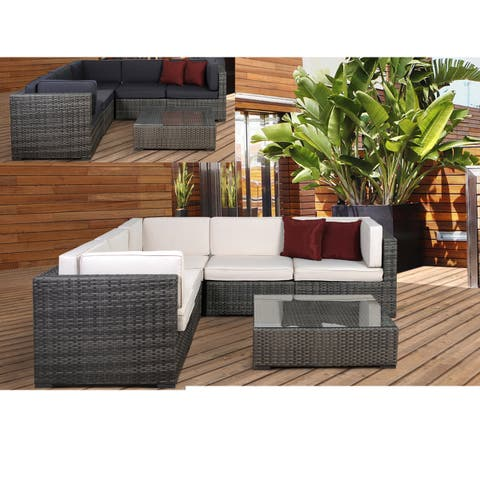 Atlantic Perugia Grey/Off-white 6-piece Wicker Sectional
