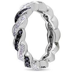 Miadora 14k Gold 3/4ct TDW Black and White Twist Diamond Ring (G-H, SI1-SI2)