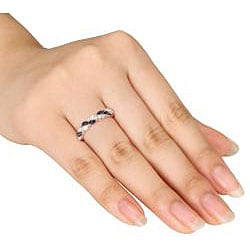 Miadora 14k Gold 3/4ct TDW Black and White Twist Diamond Ring (G-H, SI1-SI2) - Thumbnail 2