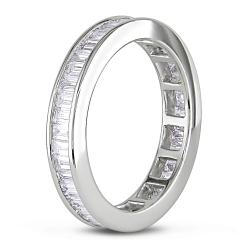 Miadora 18k White Gold 1-1/2ct TDW Baguette Diamond Eternity Ring   (Size 6.5)