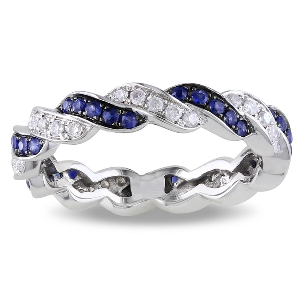 Miadora 14k White Gold 3/5ct TGW Sapphire and 1/3ct TDW Eternity Ring (G-H, SI1-SI2) (Size 6)