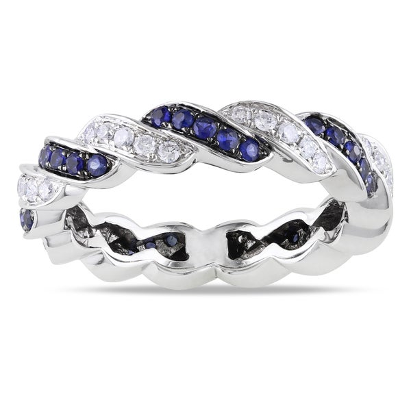 Miadora 14k White Gold 3/5ct TGW Sapphire and 1/3ct TDW Diamond Ring (G-H, SI1-SI2) (Size 5)