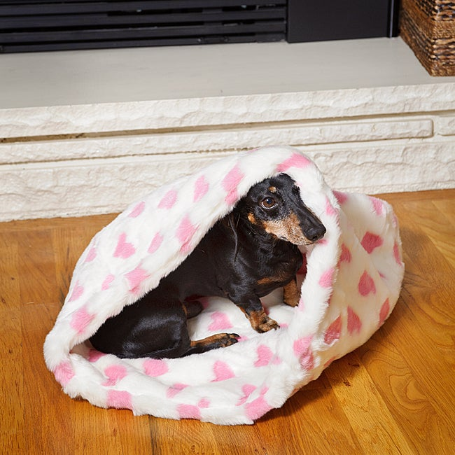 Tiger Dreamz Pink Hearts 3-way Snuggle Pet Bed