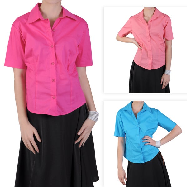 Journee Collection Women's Button-up Short-sleeve Blouse