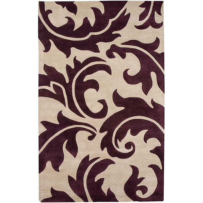 Hand-tufted Ivory/ Purple Wool Blend Rug (3'6 x 5'6)