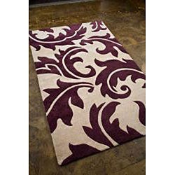 Hand-tufted Ivory/ Purple Wool Blend Rug (3'6 x 5'6) - Thumbnail 1