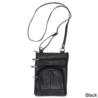 Journee Collection Women's Genuine Leather Crossbody Bag