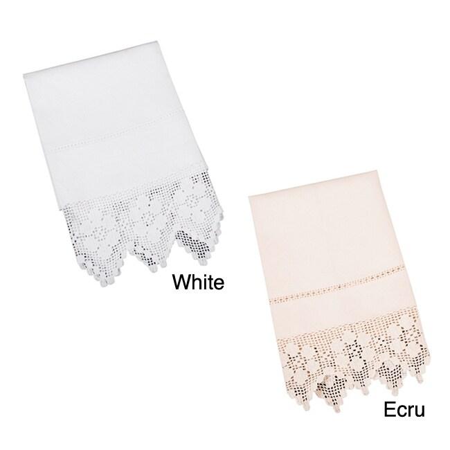 Saro Filet Crochet Guest Towel (28 x 44 - Single - Ecru),...