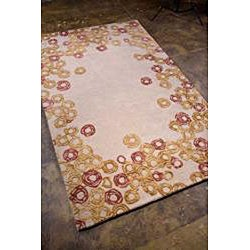 Hand-tufted Ivory/ Purple Wool Blend Rug (8' x 11')